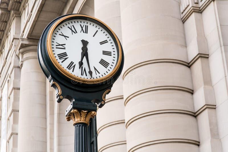 Orologio alla stazione storica Kansas City Missouri del sindacato fotografie stock libere da diritti