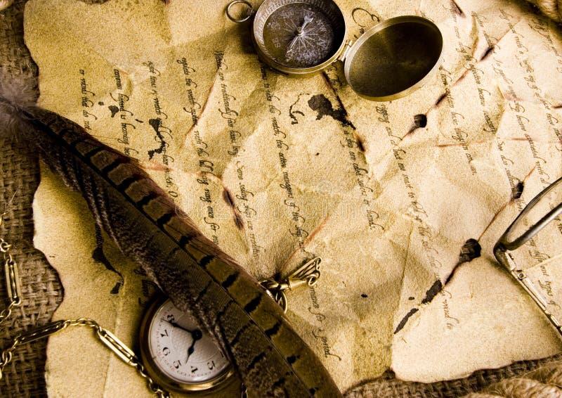 Orologio & manoscritto antico fotografie stock libere da diritti