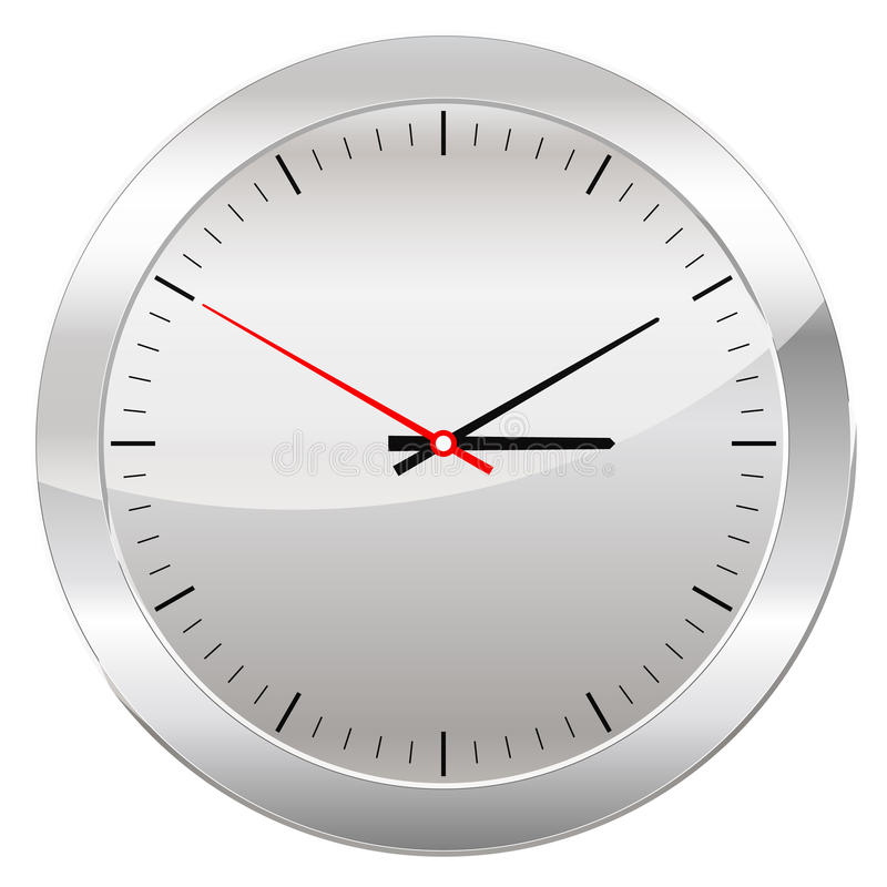 Orologio analogico isolato su un fondo bianco illustrazione di stock