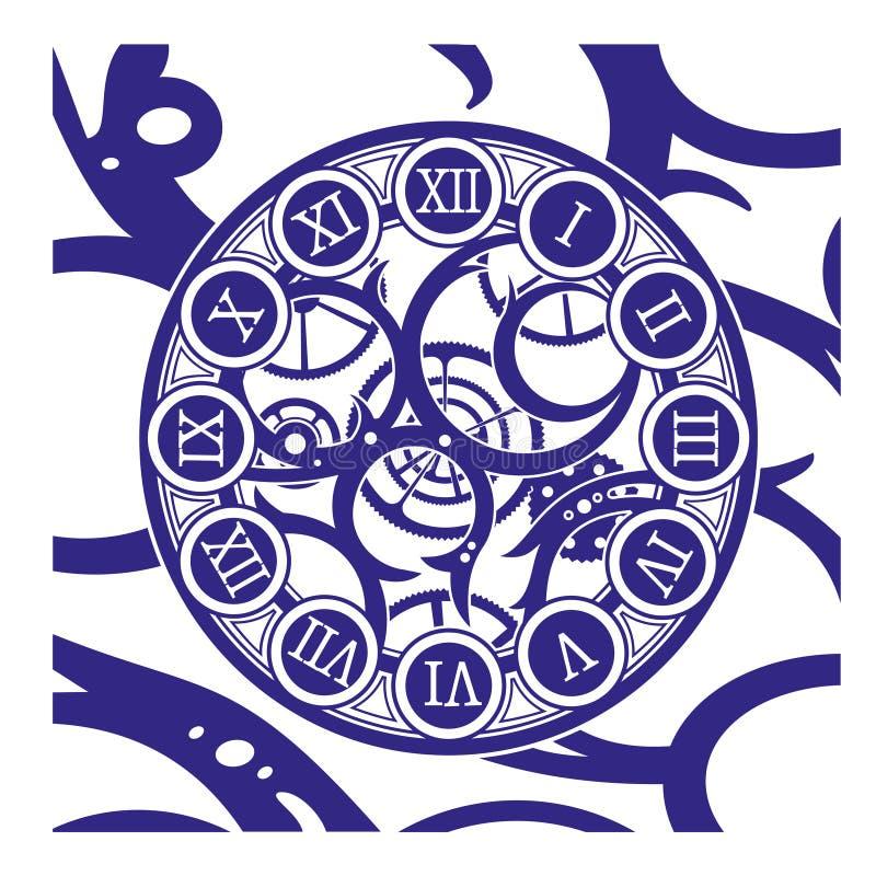 Orologio antico fatto delle parti di metallo e dei denti ungroupable selezionabili Illustrazione di vettore royalty illustrazione gratis