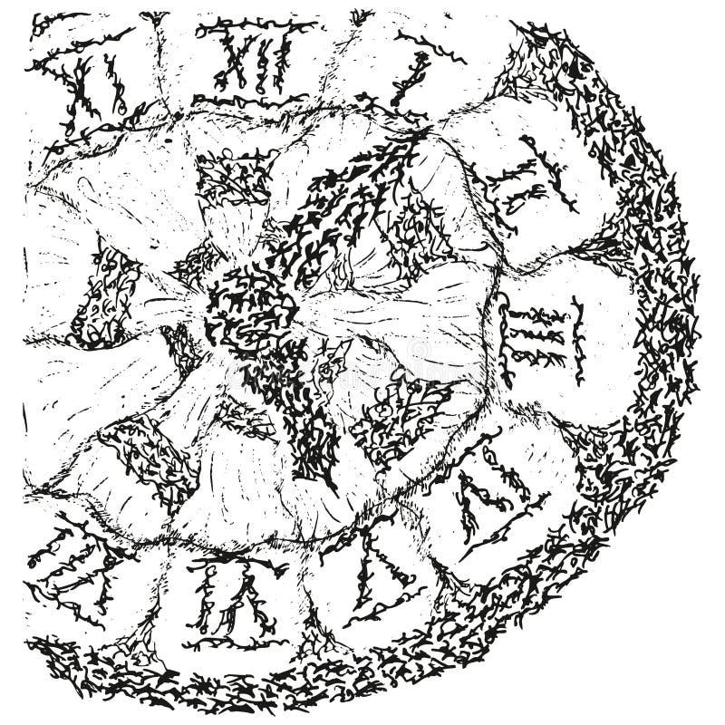 Orologio antico stilizzato astratto di B&W