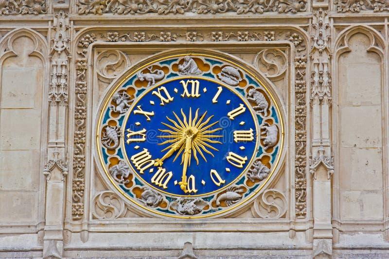 Orologio astronomico con i segni dello zodiaco immagine stock