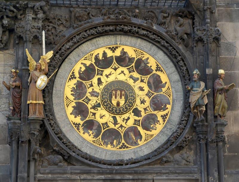 Orologio astronomico sul municipio di Staromestsky Praga, ceca fotografie stock libere da diritti