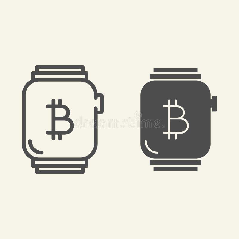 Orologio astuto con la linea del bitcoin e l'icona di glifo Bitcoin sull'illustrazione di vettore dell'orologio isolata su bianco illustrazione vettoriale