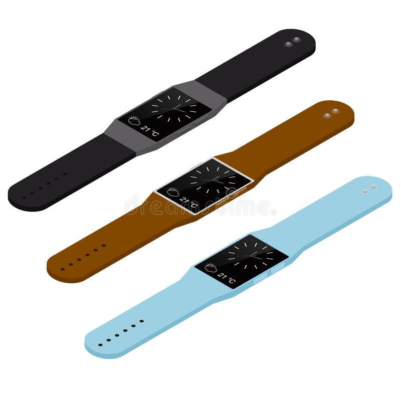 Orologio astuto isometrico Tecnologia wireless del futuro illustrazione di stock