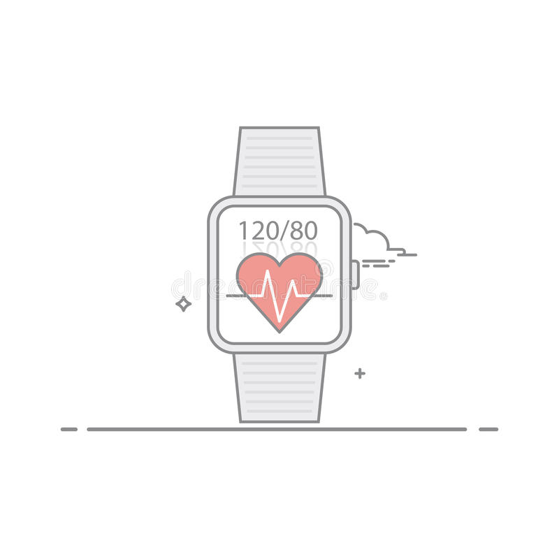 Orologio astuto Segua le indicazioni di salute Pressione del cuore e di impulso Il concetto dell'interfaccia mobile di applicazio illustrazione di stock