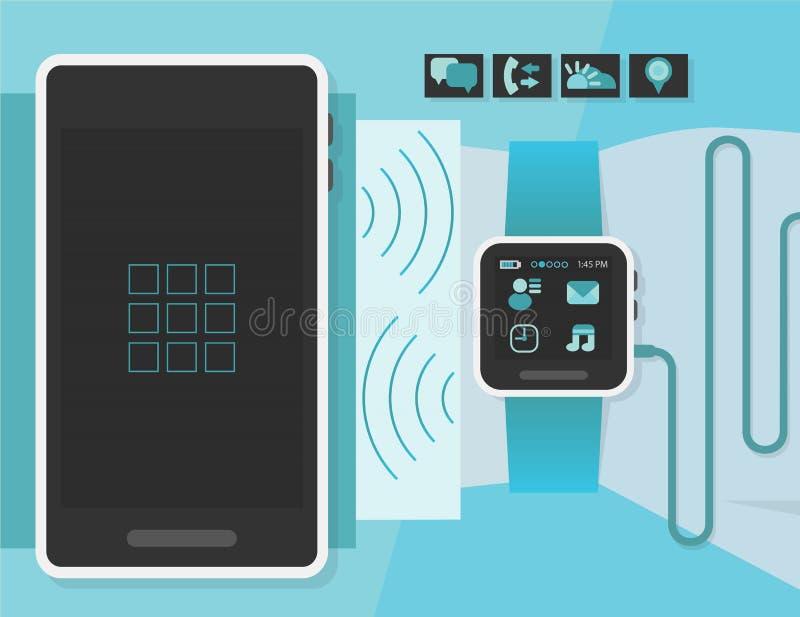 Orologio astuto su un polso dell'uomo di affari con lo Smart Phone illustrazione di stock