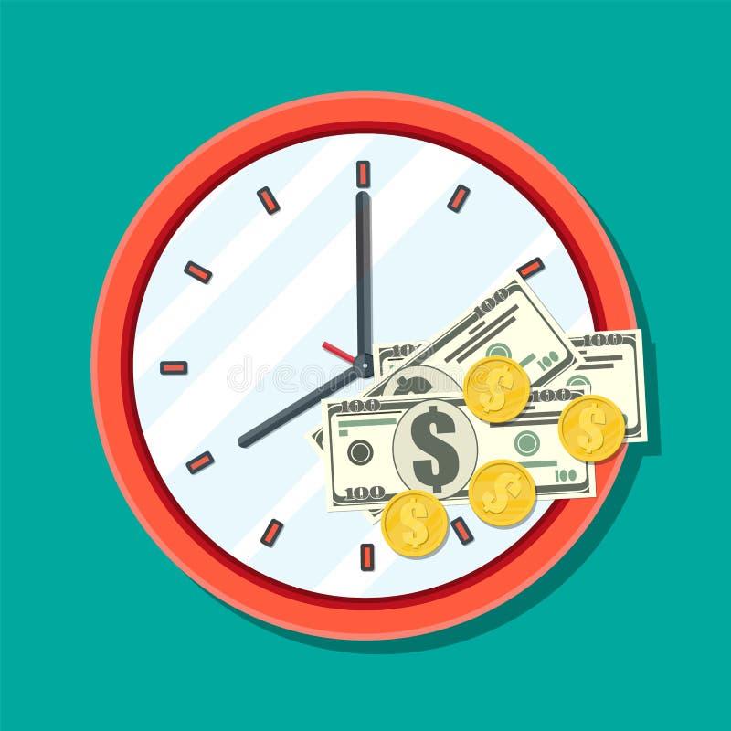 Orologio, banconote del dollaro e monete dorate illustrazione vettoriale