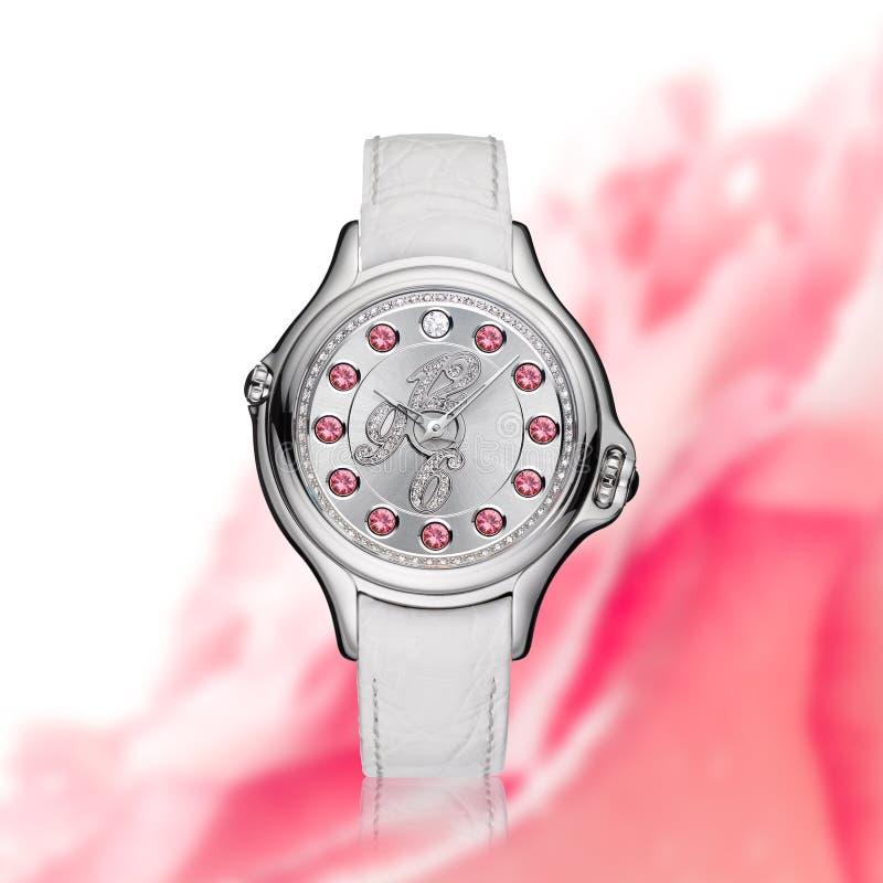 Orologio bianco del diamante immagini stock