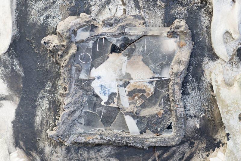 Orologio bruciato dopo l'eruzione del vulcano Merapi immagini stock libere da diritti