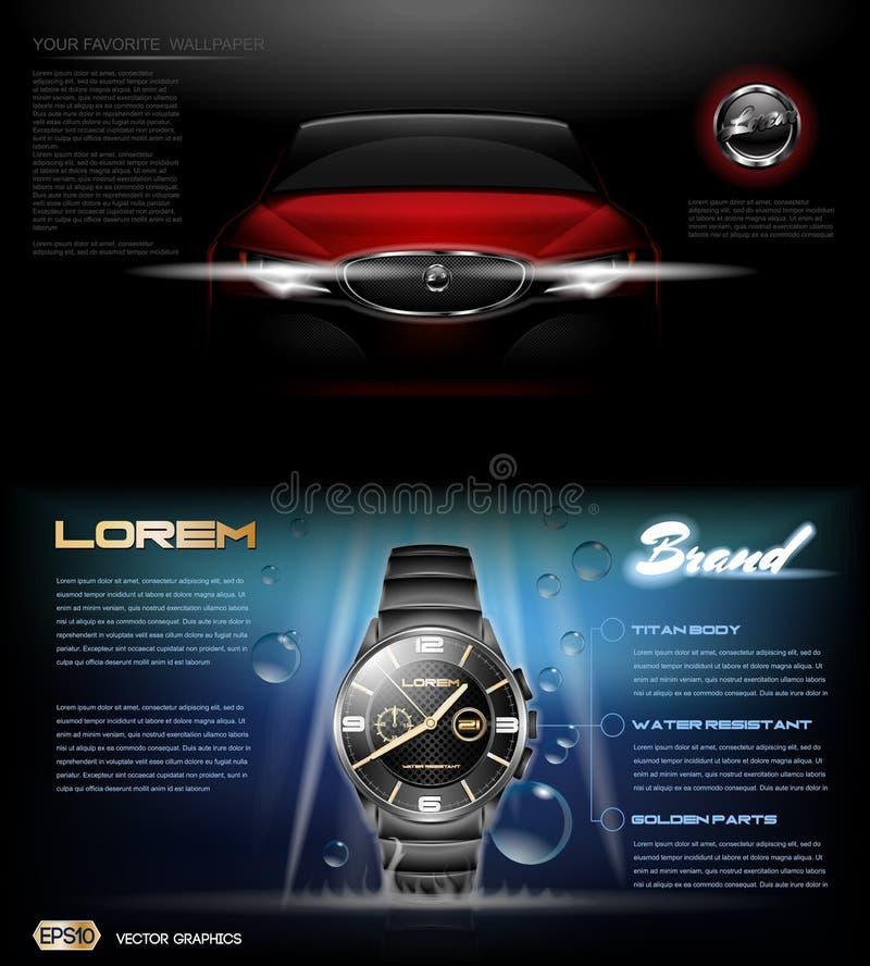 Orologio classico d'argento scuro dell'uomo di vettore di Digital illustrazione di stock