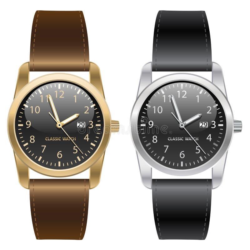 Orologio classico dell'argento e dell'oro Brown e cinghia nera sul vettore bianco del fondo illustrazione vettoriale
