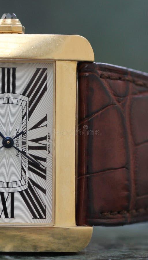 Orologio classico dell'oro fotografia stock libera da diritti