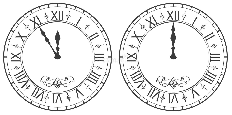 Orologio con i numeri romani mezzanotte 12 del nuovo anno for Orologio numeri romani