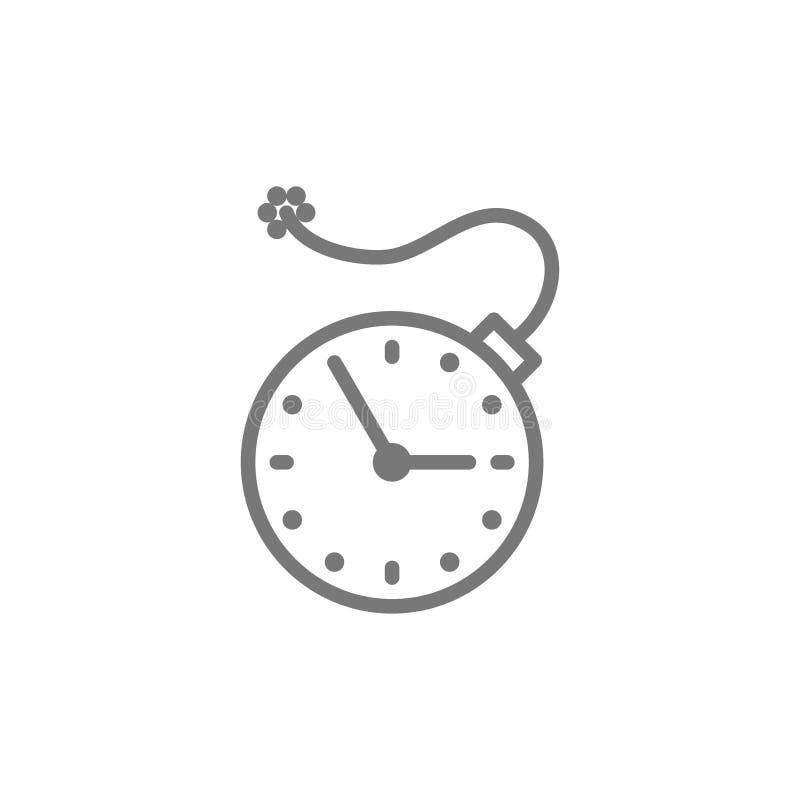Orologio con la bomba, temporizzatore di esplosione, linea icona di termine illustrazione di stock