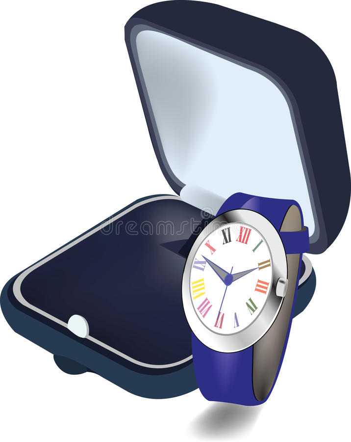 Orologio con la scatola royalty illustrazione gratis