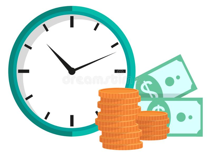 Orologio con le monete ed i dollari, Il tempo è denaro vettore illustrazione di stock