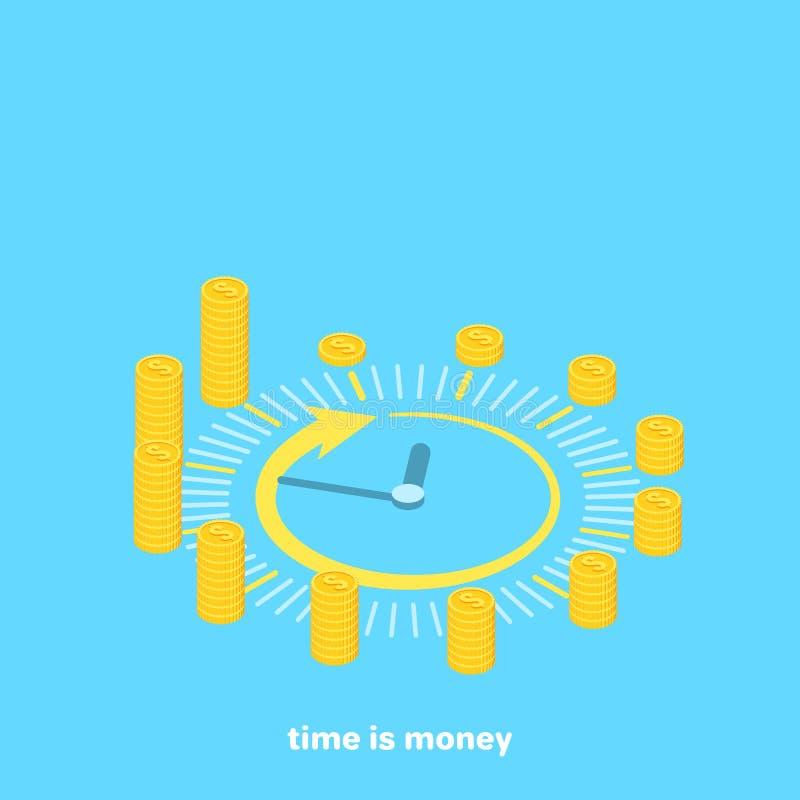 Orologio costruito da soldi illustrazione vettoriale