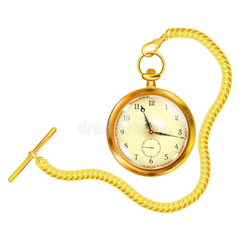Orologio da tasca antico dell'oro con la catena illustrazione di stock