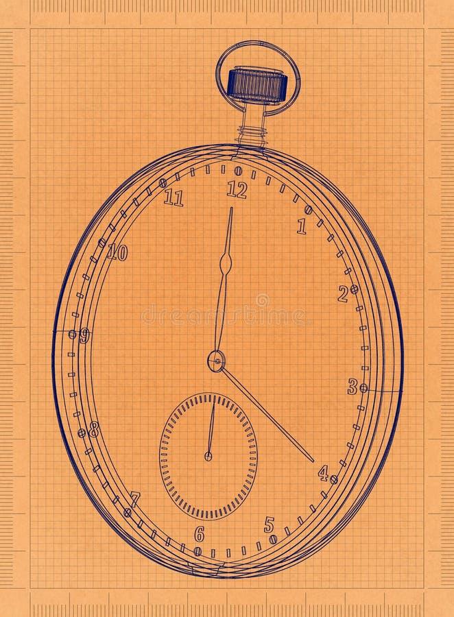 Orologio da tasca classico - retro modello illustrazione vettoriale