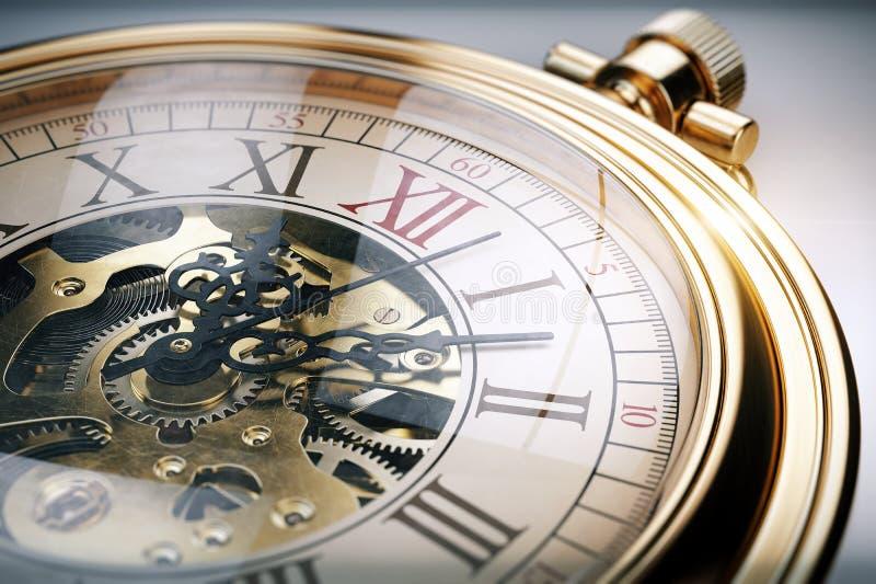 Orologio da tasca d'annata dell'oro illustrazione di stock
