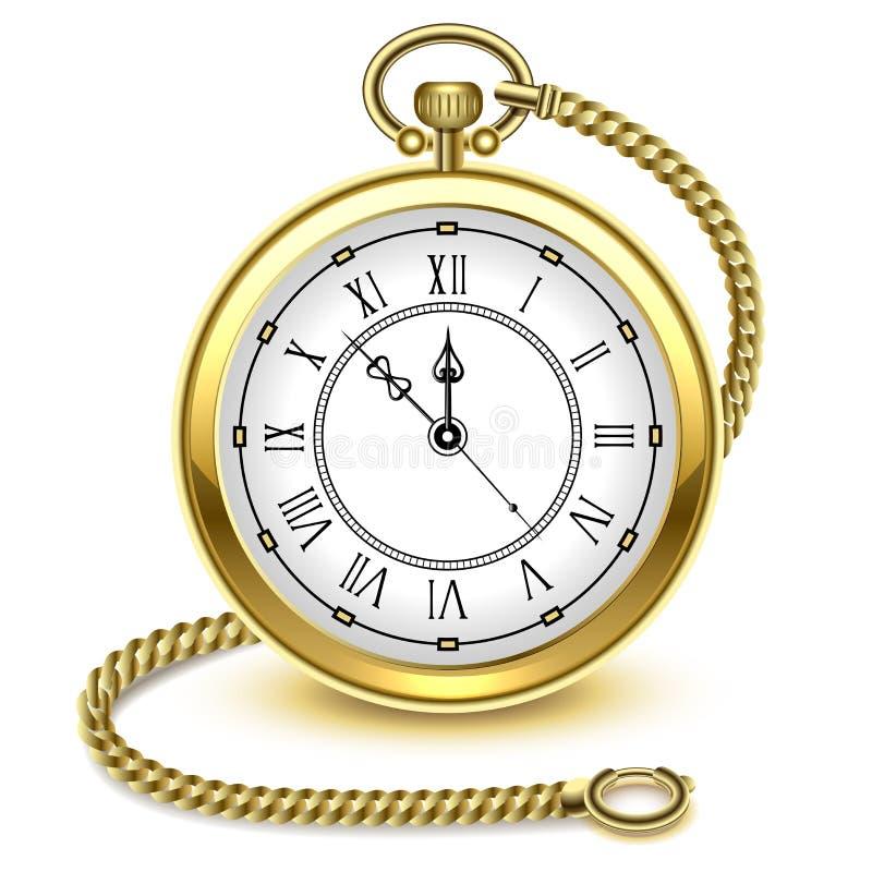 Orologio da tasca d'annata e catena dell'oro, isolati su fondo bianco, illustrazione di vettore illustrazione di stock