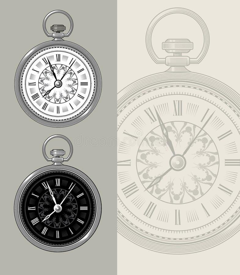 Orologio da tasca d'annata - illustrazione di vettore dell'orologio illustrazione di stock