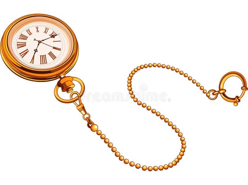 Orologio da tasca dell'oro illustrazione di stock