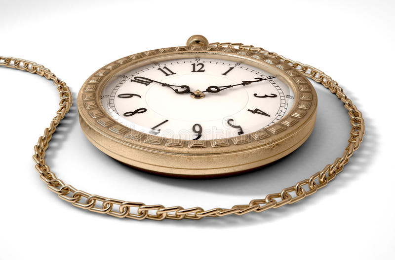 Orologio da tasca sulla catena illustrazione di stock