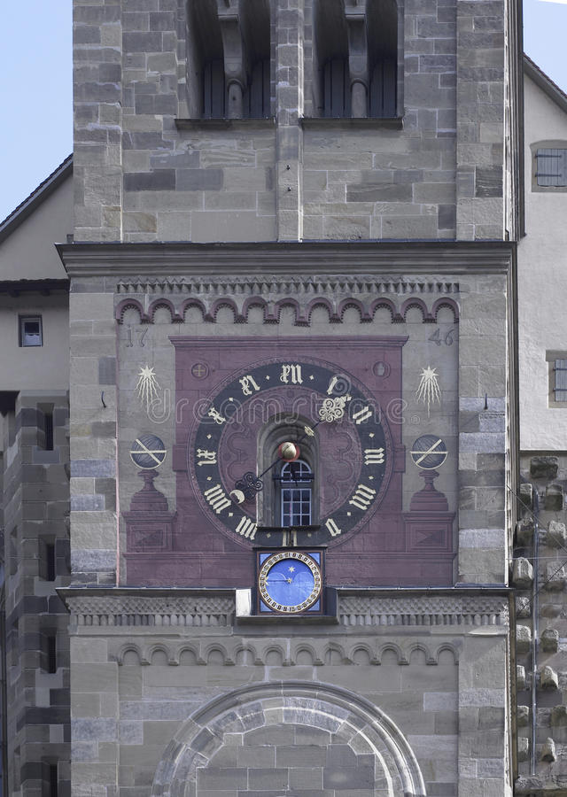 Orologio decorato della chiesa fotografia stock