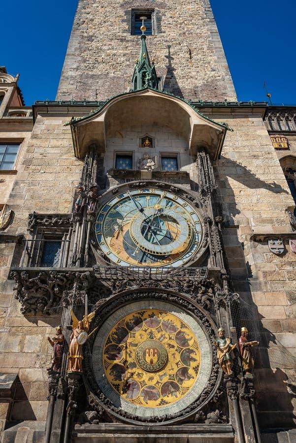 Orologio decorato quadrato principale della repubblica Ceca di Praga fotografia stock libera da diritti