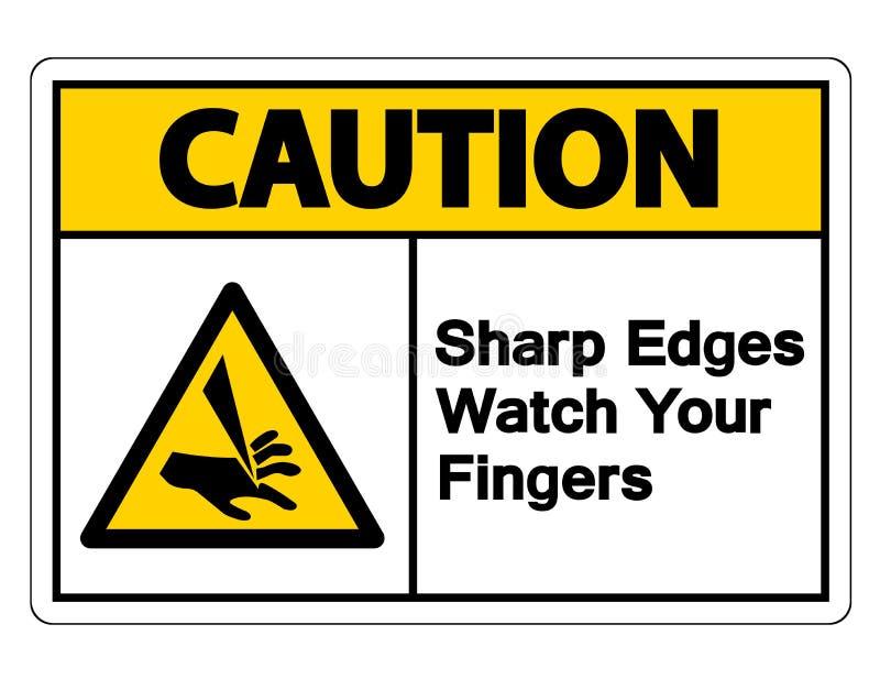 Orologio degli spigoli di cautela il vostro segno di simbolo delle dita su fondo bianco royalty illustrazione gratis