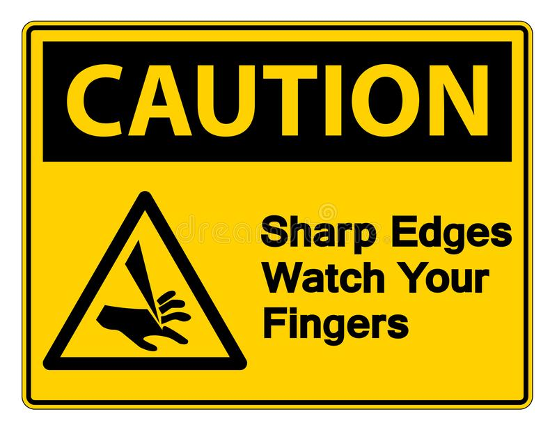 orologio degli spigoli di cautela di simbolo il vostro segno di simbolo delle dita su fondo bianco, illustrazione di vettore royalty illustrazione gratis