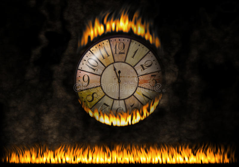 Orologio dell'orologio ardente Il tempo trascorso Concetto di tempo dell'ustione, urgenza royalty illustrazione gratis