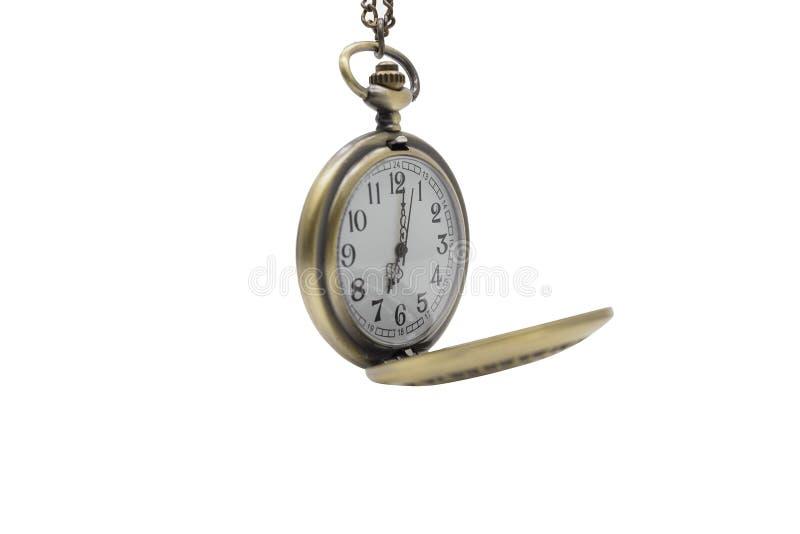 Orologio della collana isolato su fondo bianco con il percorso di ritaglio immagine stock libera da diritti