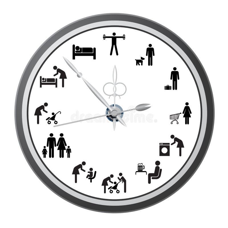 Orologio delle icone della gente. illustrazione vettoriale