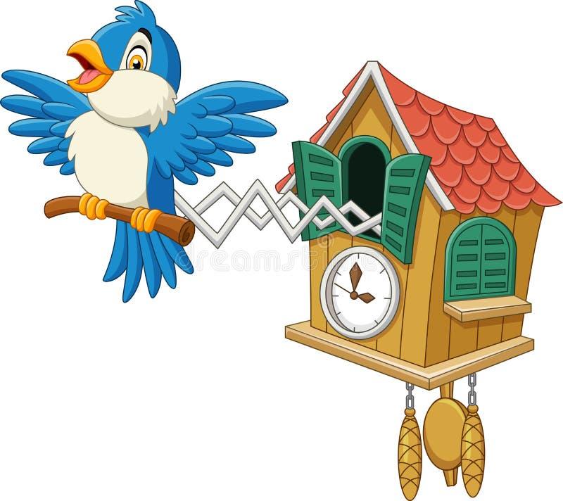 Orologio di cuculo con il cinguettio blu dell'uccello illustrazione vettoriale