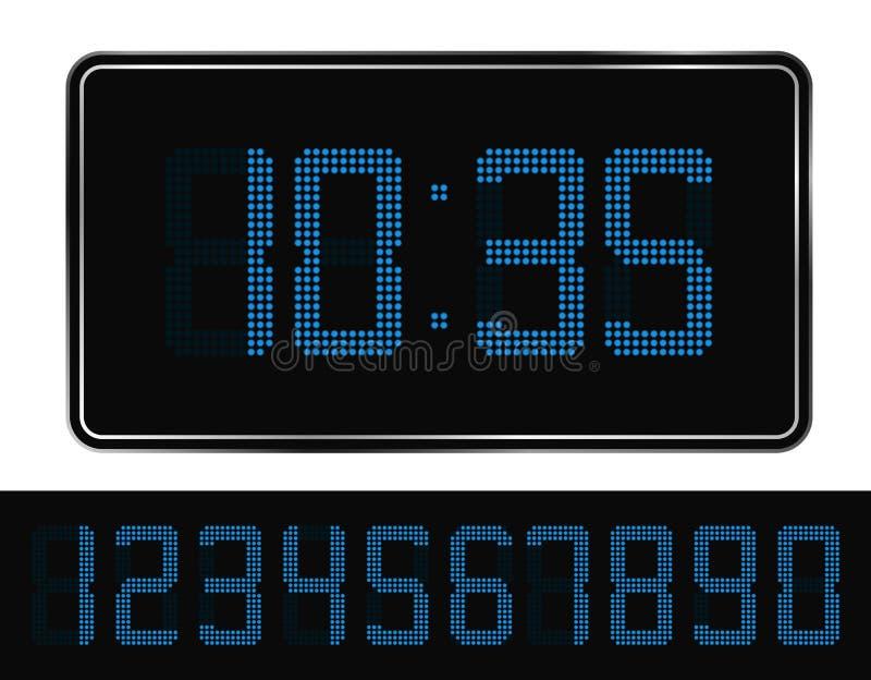 Orologio di Digitahi blu illustrazione di stock