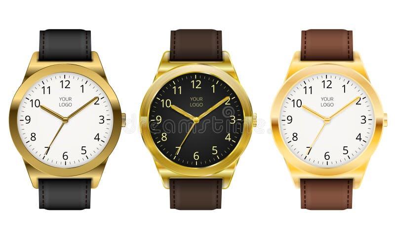 Orologio di oro illustrazione vettoriale