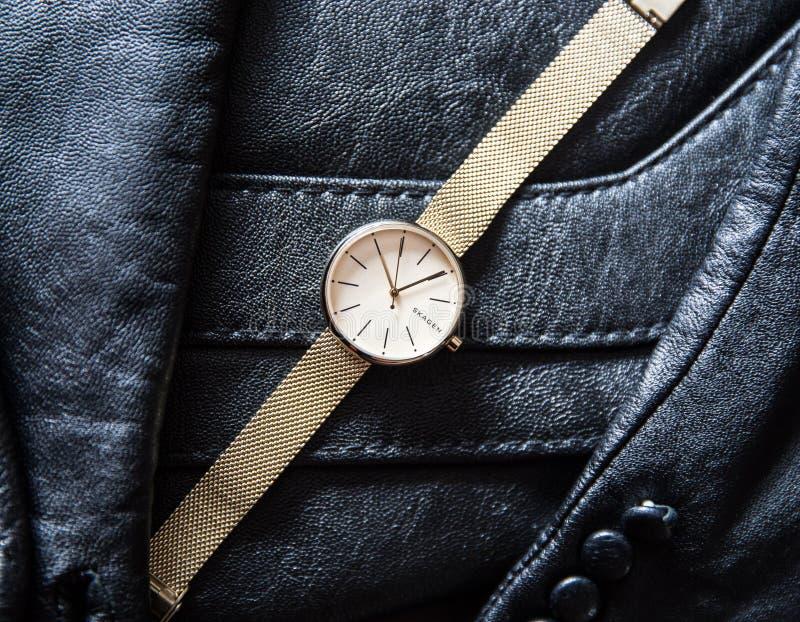 Orologio di oro di Skagen dalla Danimarca immagine stock