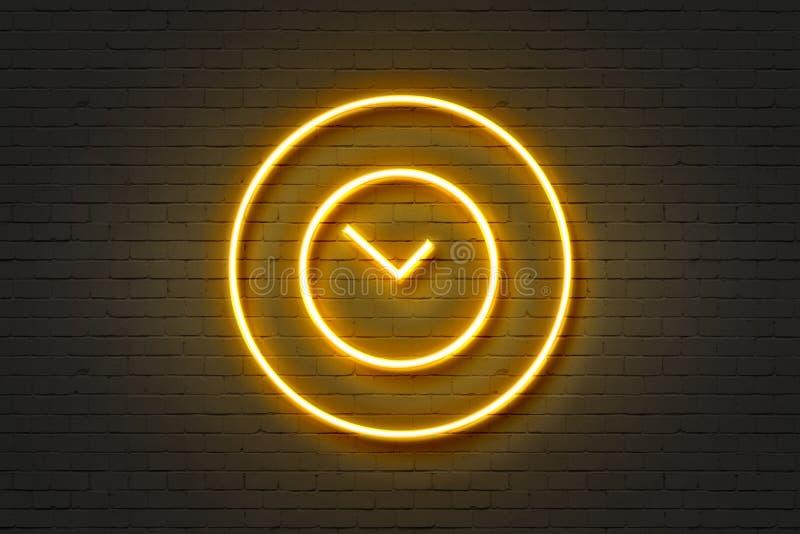 Orologio di parete dell'icona della luce al neon royalty illustrazione gratis