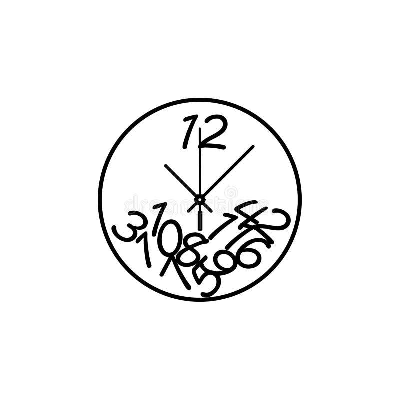 Orologio di parete rotondo con la linea di numeri icona Icona dell'orologio Progettazione grafica di qualità premio Segni, raccol royalty illustrazione gratis