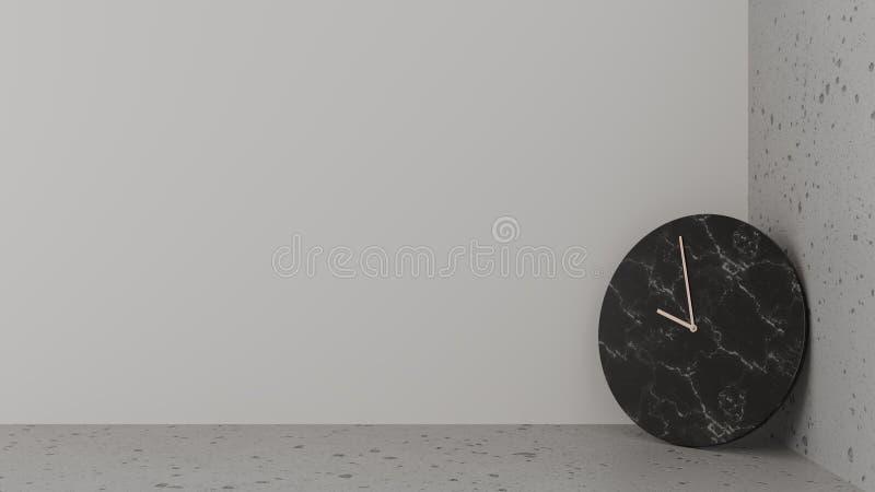 Orologio di pietra nero, ago di rame appoggiantesi l'angolo fra il pavimento e la parete bianca Superficie regolare e ruvida royalty illustrazione gratis