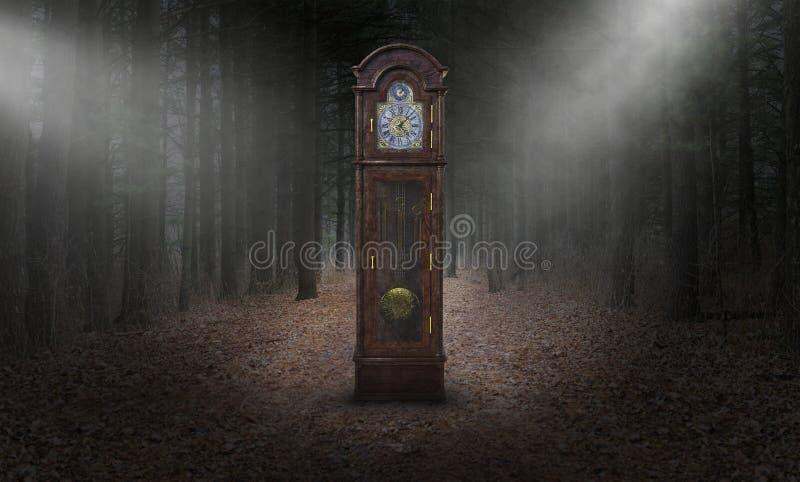 Orologio di prima generazione surreale, tempo, legno, natura immagine stock
