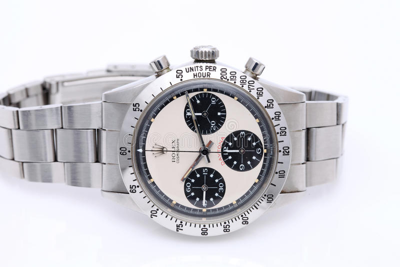 Orologio di Rolex in una vetrina fotografia stock