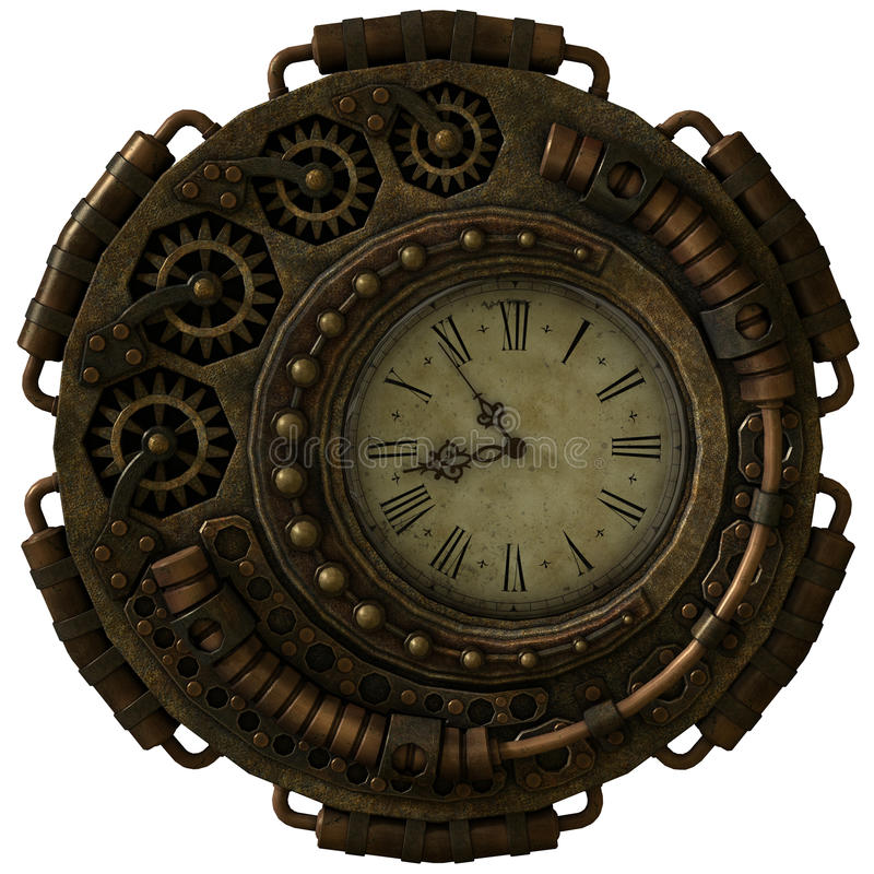 Orologio di Steampunk, 3d CG illustrazione di stock
