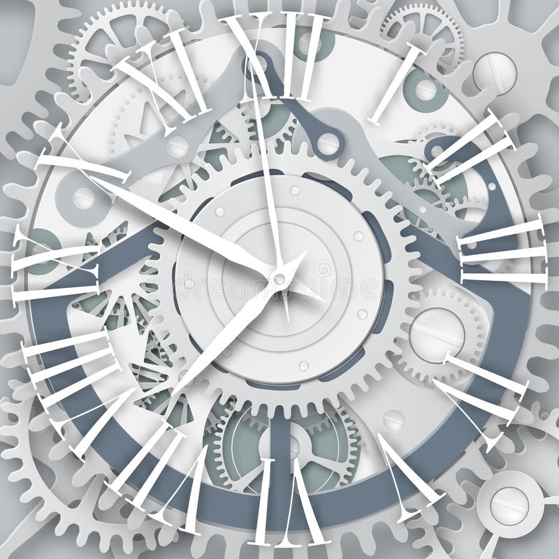 Orologio di vettore con Roman Numerals Meccanismo del movimento a orologeria illustrazione di stock