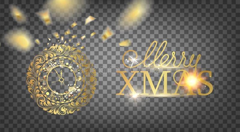 Orologio dorato - un simbolo di 2019 anni Decorazione dorata dell'orologio di natale sopra i precedenti trasparenti Cartolina di  illustrazione di stock