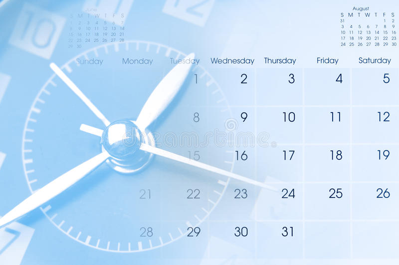 Orologio e calendario fotografie stock libere da diritti