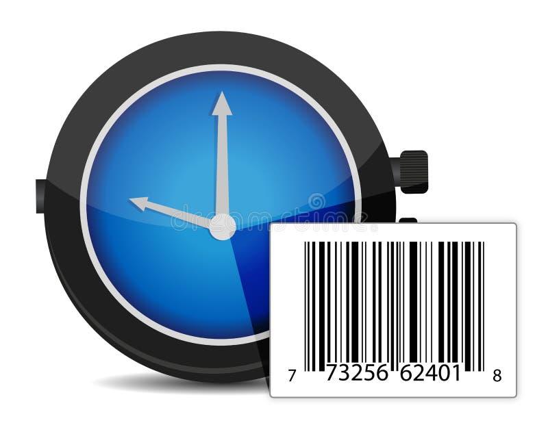 Orologio e codice a barre illustrazione vettoriale